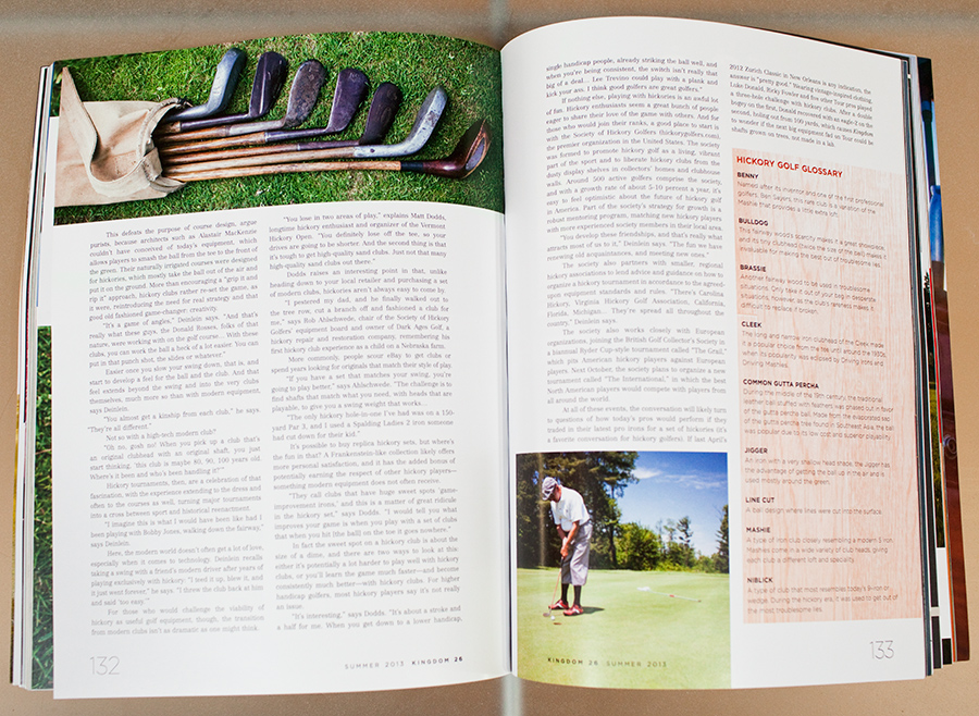 Hickory Golf in Arnold Palmer's Kingdom Magazine, photos by Vermont Photographer Monica Donovan.