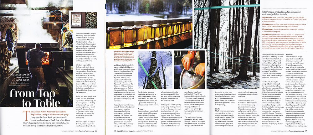Men sugaring maple syrup in Vermont for Food & Nutrition Magazine